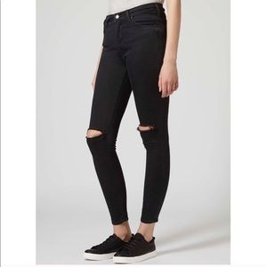 Topshop Moto Leigh Black Distressed Jeans Size 28